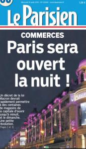 Une du Parisien : Paris sera ouvert la nuit et le dimanche