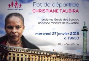 Démission de Christiane Taubira - Pot de départ La Manif Pour Tous